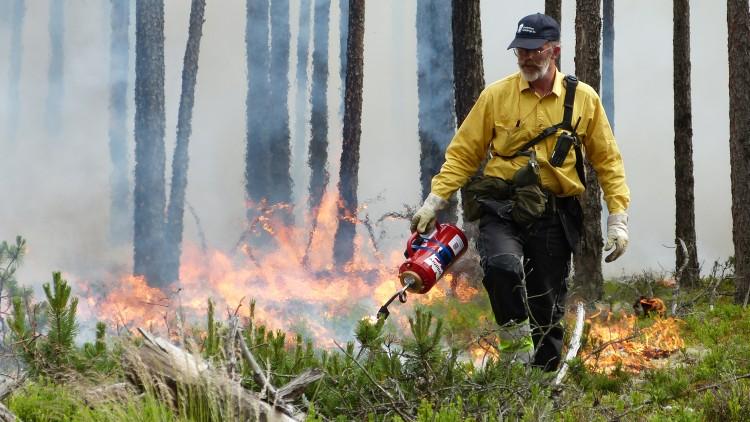 En man klädd i gul skjorta, mörka byxor och en svart keps håller en röd behållare. Från ett rör på behållaren droppar han brinnanade vätska på marken.