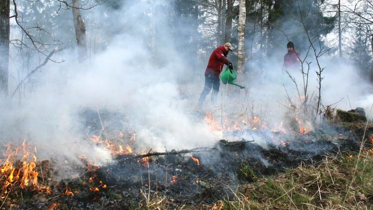 En man i röd jacka häller vatten från en grön vattenkanna över eld.