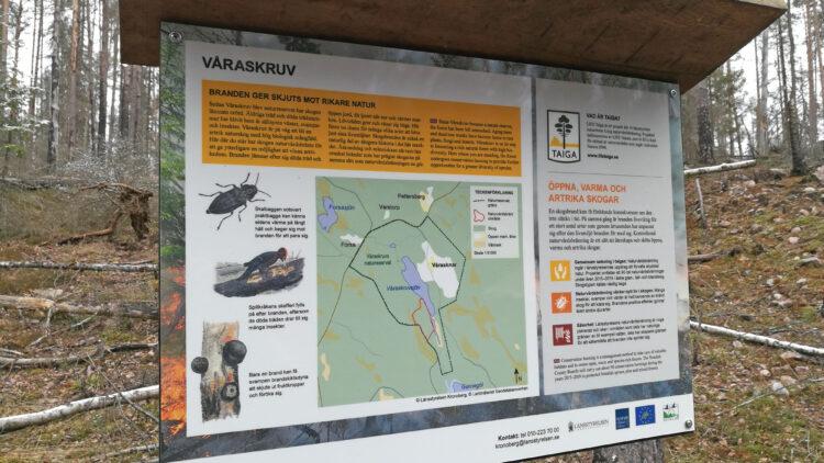 Informationsskyllt i skog.