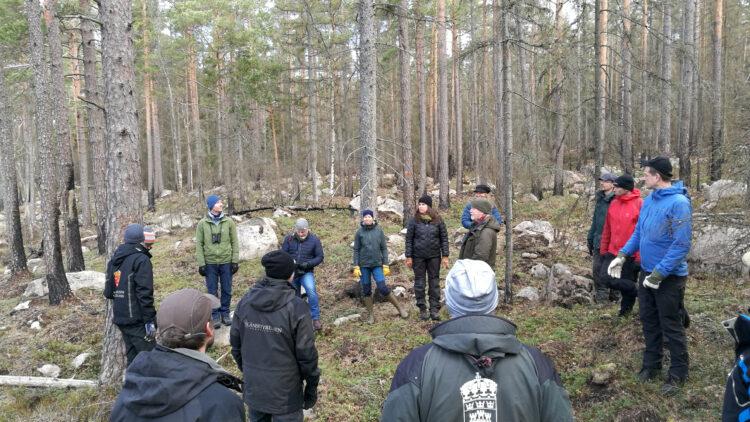 En grupp människor står i en utspridda bland tallar och stenar.
