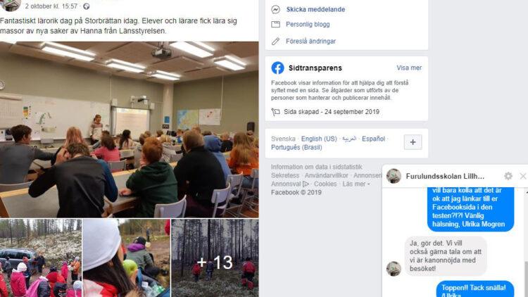 Skärmklipp från Furulundsskolans Facebooksida. Visa barn i klassrum, barn i skog och en meddelandekonveration.