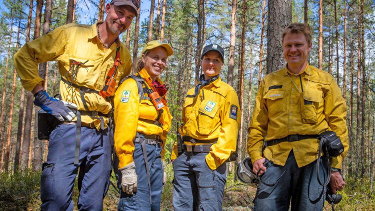 Två kvinnor och två män, alla i gula skjortot och mörkblå byxor står i en skog.