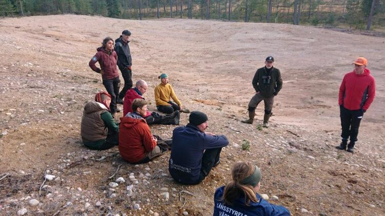 Ett tiotal personer står eller sitter på en stor sandig markyta. Runt om finns tallar med sotiga trädstammar.